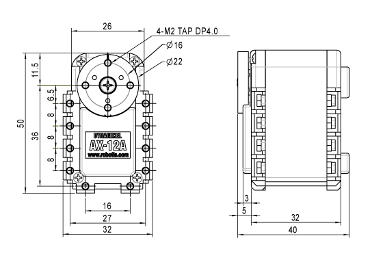 Dimensions de l'AX-12A