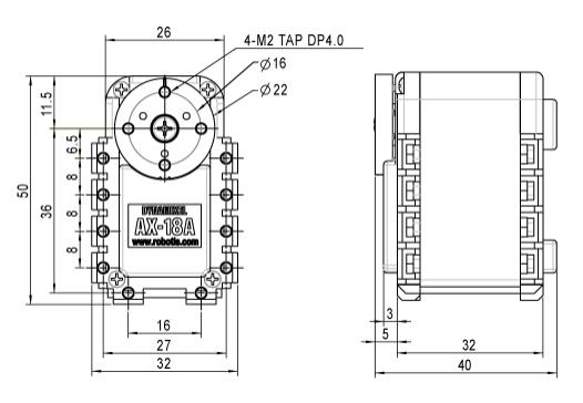 Dimensions de l'AX-18A